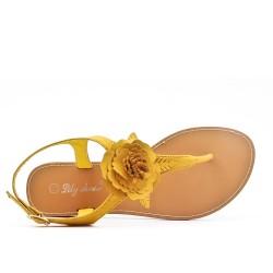 Sandale plate jaune à fleur