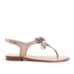 Sandale plate beige à fleur