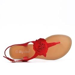 Sandale plate rouge à fleur