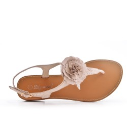 Sandalia plana de flores beige
