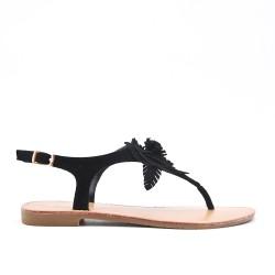 Sandalia plana negra con flor