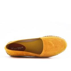 Espadrille jaune en simili daim
