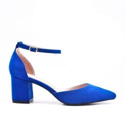 Escarpin bleu en simili daim à talon