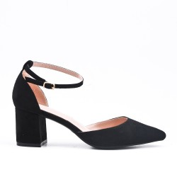 Black suede leather pumps with heels