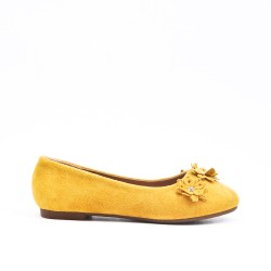 yellow girl ballerina in faux suede with flower