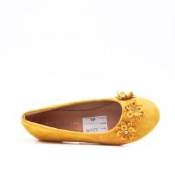 Ballerine fille jaune en simili daim à fleur