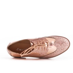 Champagne faux leather lace-up brogue