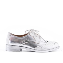 Silver faux leather lace-up brogue