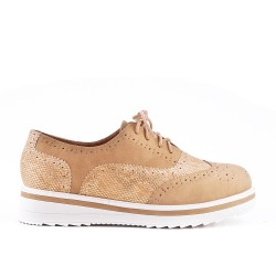 Beige bi-material lace-up brogue