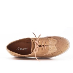 Camel bi-material lace-up brogue