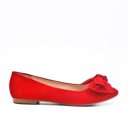 Red ballerina in faux suede