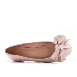 Pink ballerina in faux suede