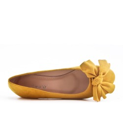 Yellow ballerina in faux suede