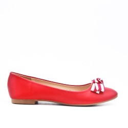 Red faux leather ballerina with bow