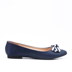 Blue faux leather ballerina with bow