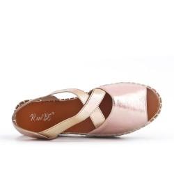 Sandale dorée à semelle espadrille