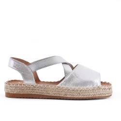 Sandale argent à semelle espadrille
