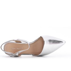 Pointed silver pumps in imitation leather with small heels