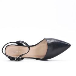 Escarpin pointu noir en simili cuir à petit talon