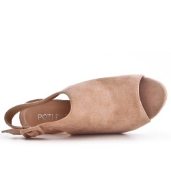 Pink suede faux pump