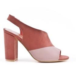 Two-tone heeled pump