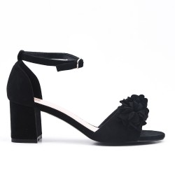 Sandale noire en simili daim à fleur