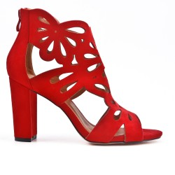 Red suede faux pump with flower pattern