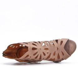 Khaki suede faux pump with flower pattern