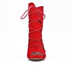 Red ankle boot with open toe