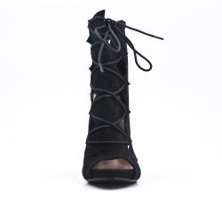Black ankle boot with open toe