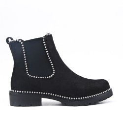 Black ankle boot in elasticated suede