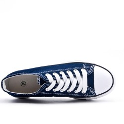 Lace-up tennis court in navy canvas