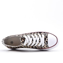 Leopard canvas lace-up tennis court