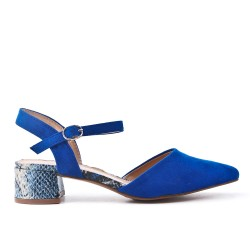 Blue pump with printed heel