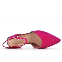 Fuchsia shoe with printed heel