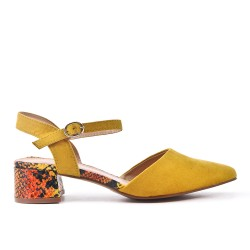 Yellow pump with printed heel
