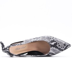 Snake faux leather pumps with bow