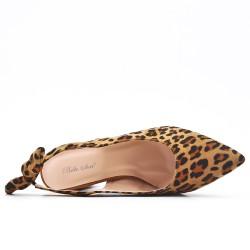 Escarpin léopard en simili daim à nœud
