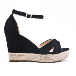 Sandale compensée noire