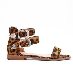 Sandale léopard à brides bouclées