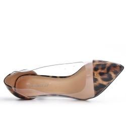 Clear high heel leopard pump