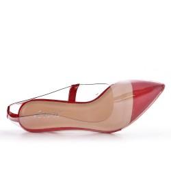 Escarpin rouge en plastique transparent
