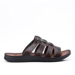 Men's brown leather mule