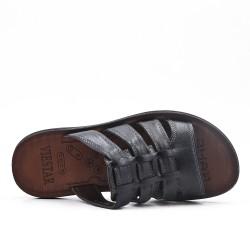 Men's black leather mule