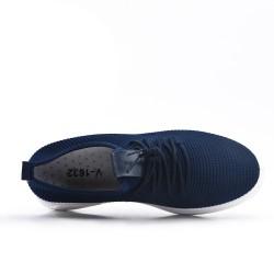 Basket bleu en tissus extensible à lacet