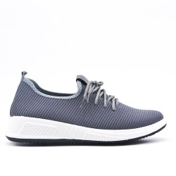 Gray sneaker in stretch lace fabric