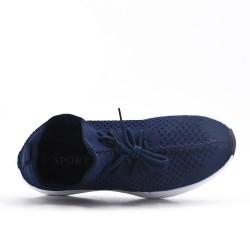Zapatilla de lona azul con encaje