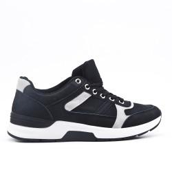 Black bi-material lace-up sneaker