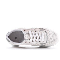 White bi-material lace-up sneaker