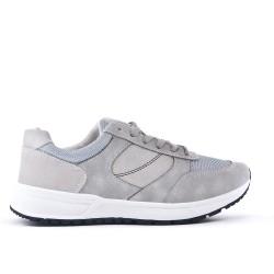 Gray bi-material lace-up sneaker